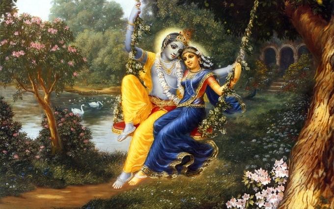 Krishna with radha in Vrindavan