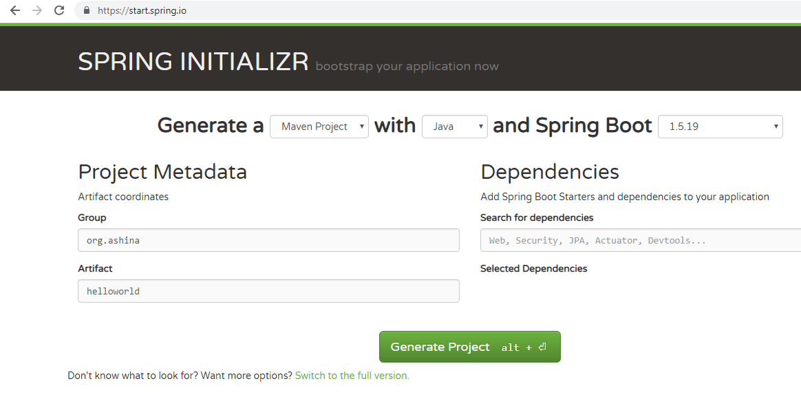 Spring Boot Initializer