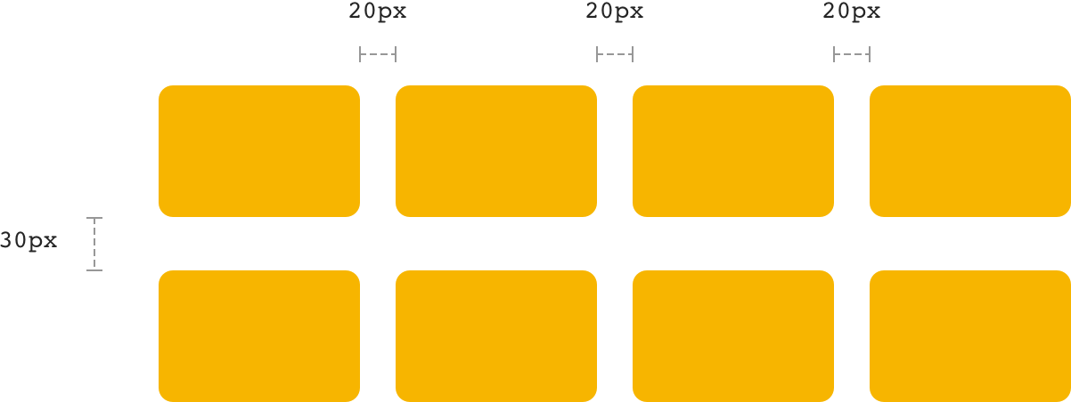 Gap là khoảng trống giữa các element