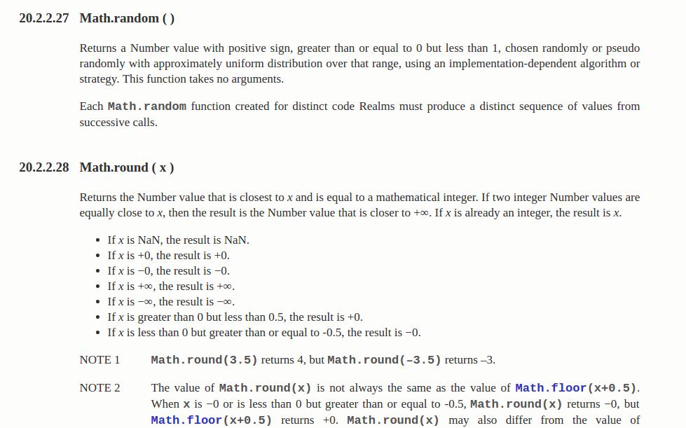Một đoạn đặc tả đối tượng Math