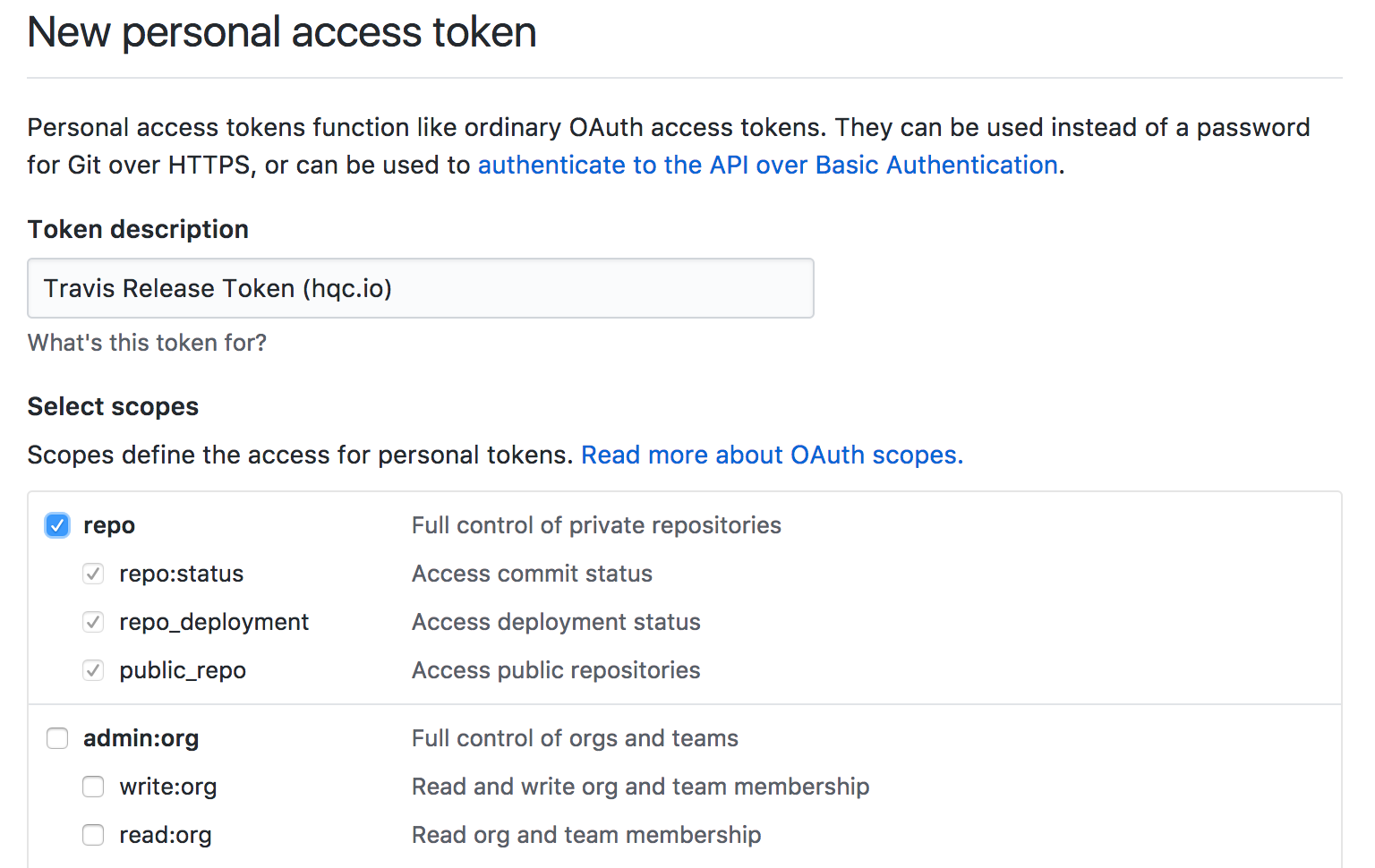 Generate Github access token