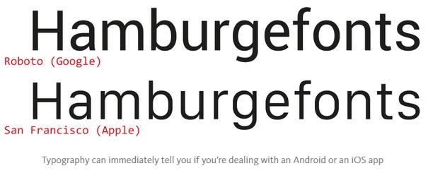Typography ngay lập tức có thể cho bạn biết bạn đang dùng Android hay iOS