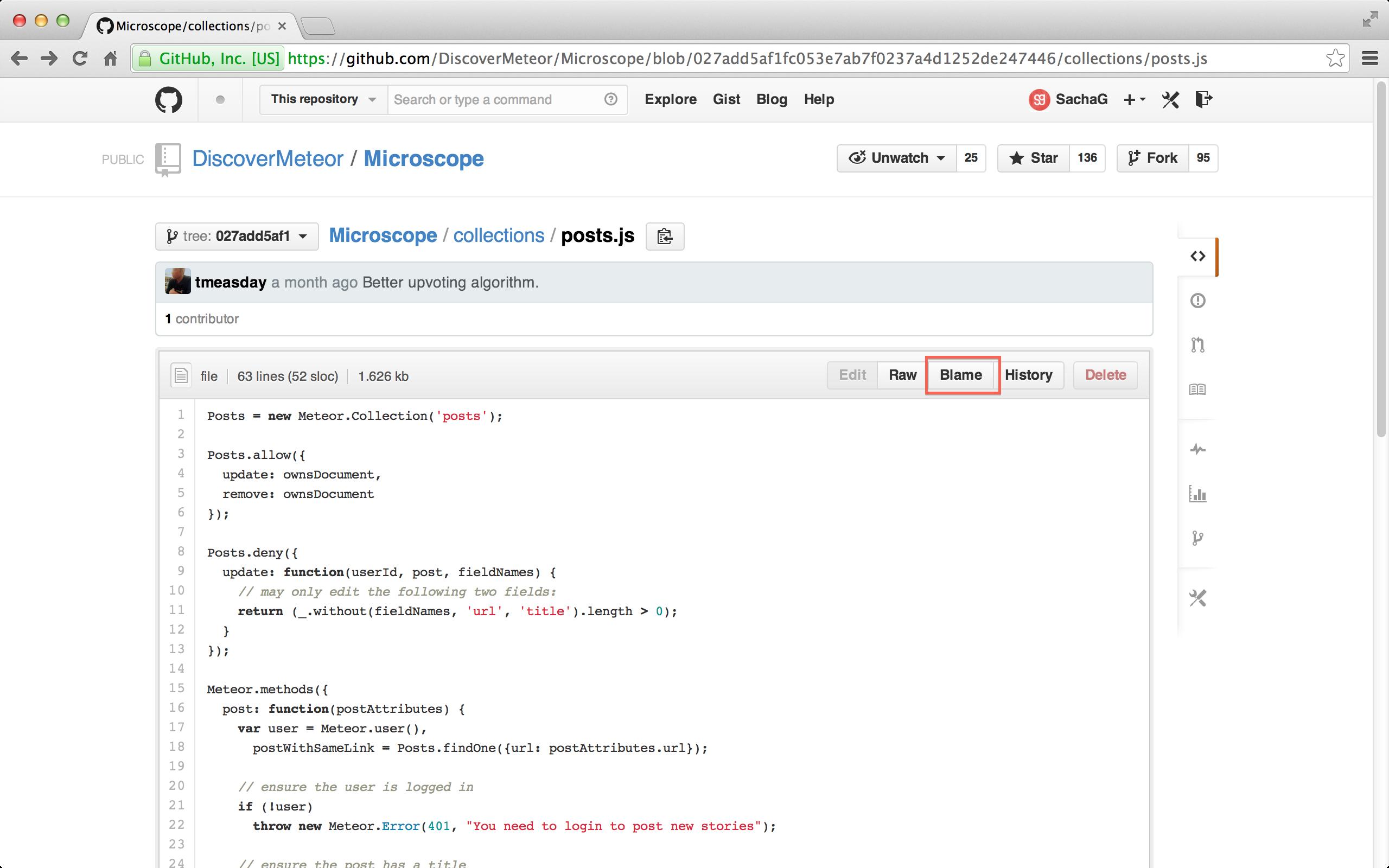 GitHub's Blame button