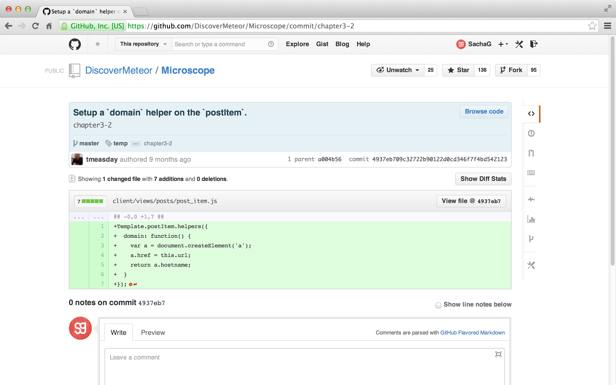 A Git commit as shown on GitHub