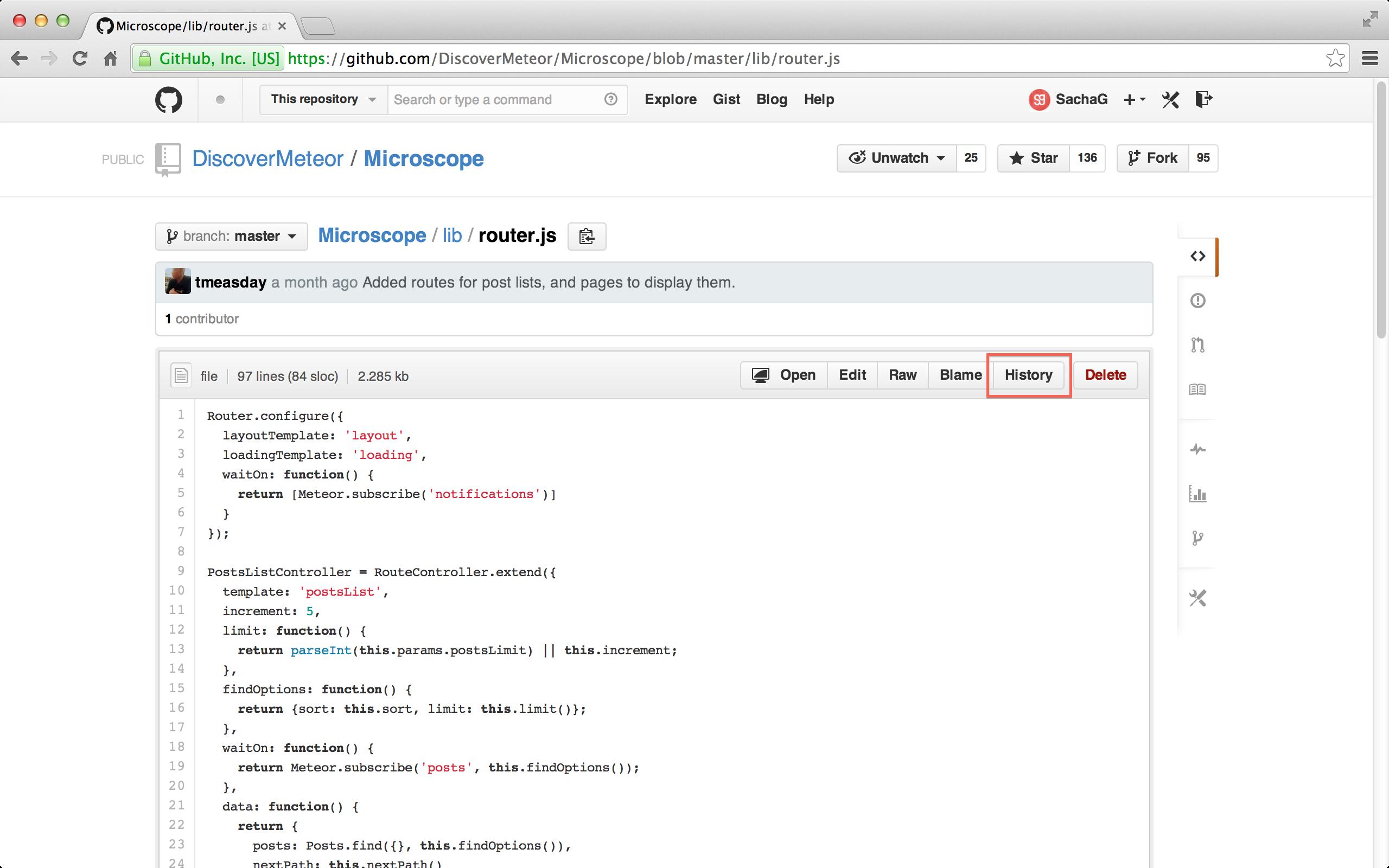 GitHub's History button