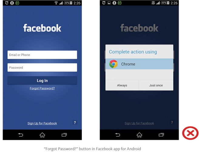 """Forgot Password?"" button in Facebook app for Android"