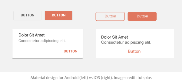 Material design for Android (left) vs iOS (right).