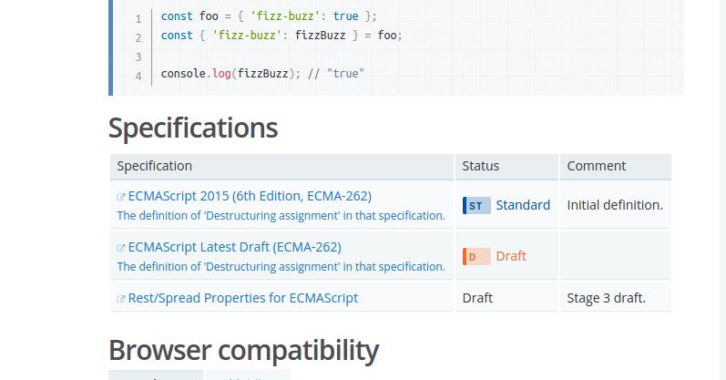 Ghi chú trạng thái chức năng trên website Mozilla