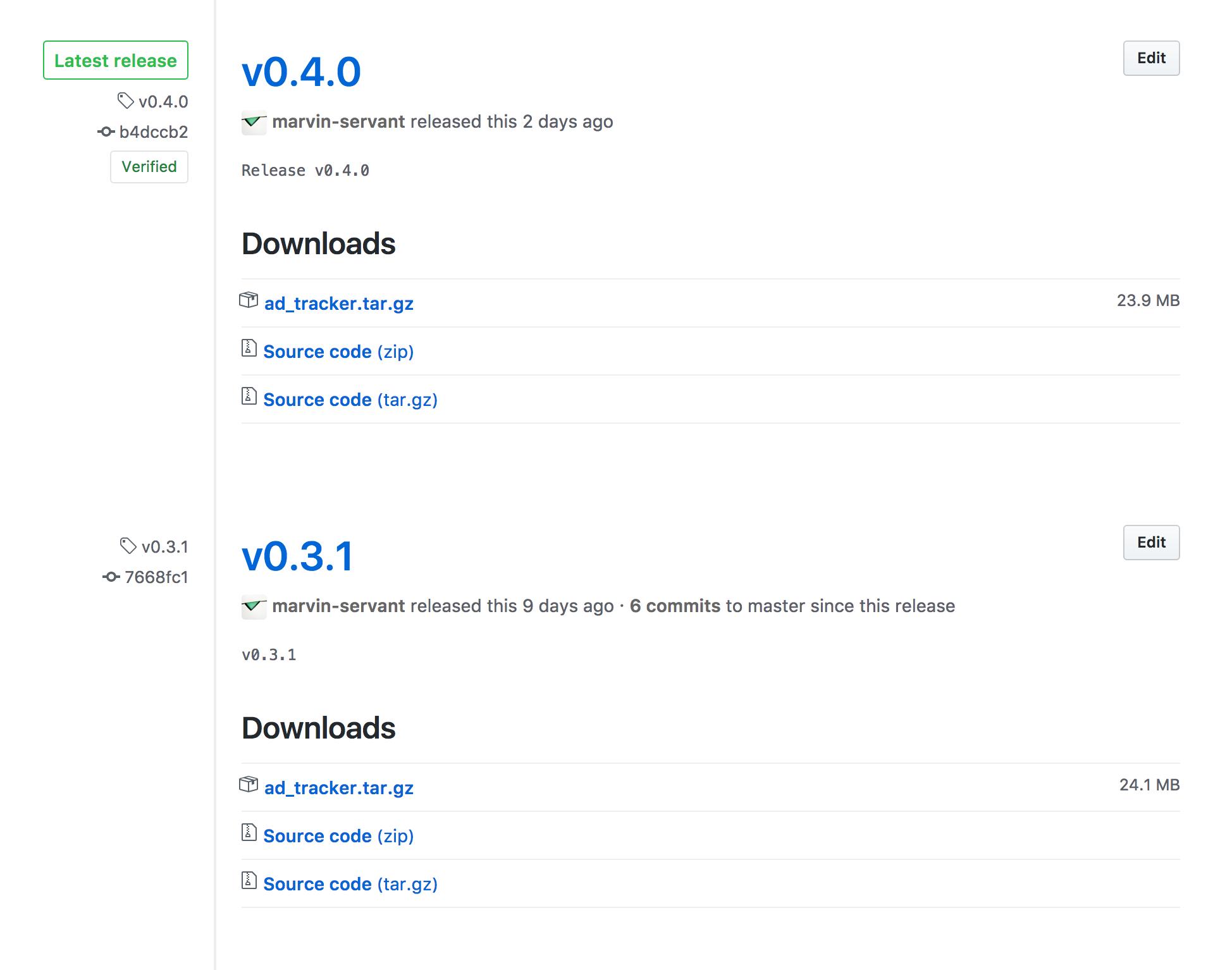 Github Release example