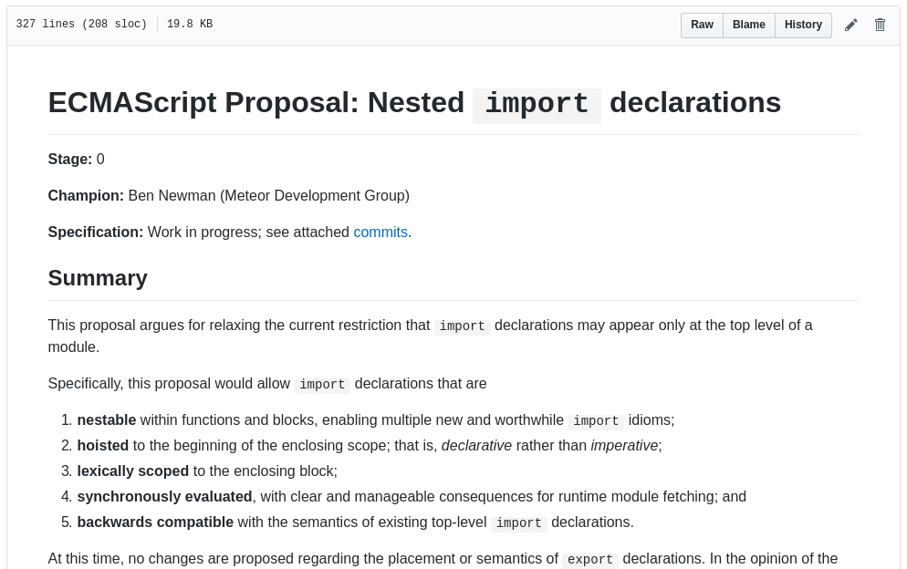 ECMAScript Proposal: Nested import declarations