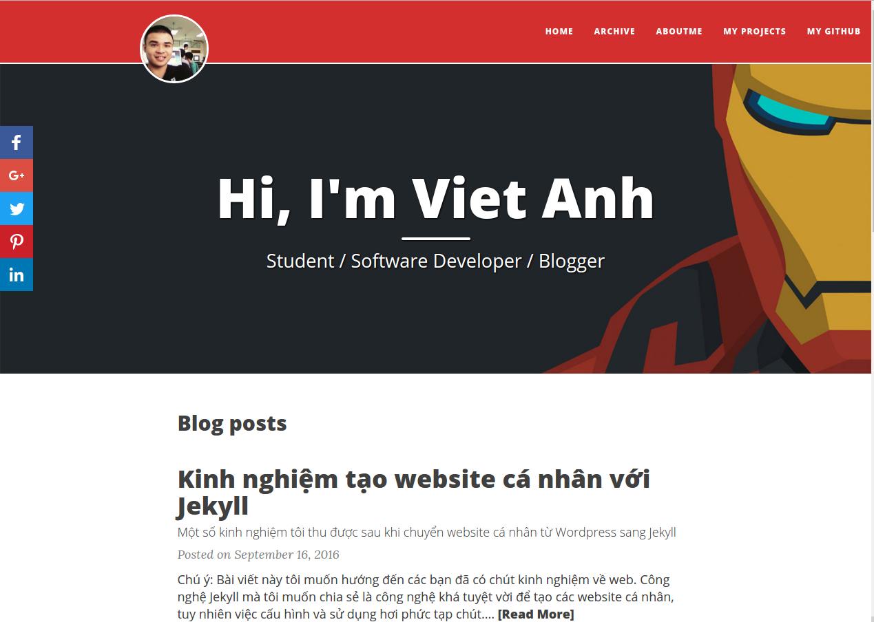 Website VietAnhDev.com sau khi chuyển sang Jekyll