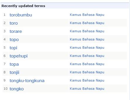 Kosa kata bahasa Napu