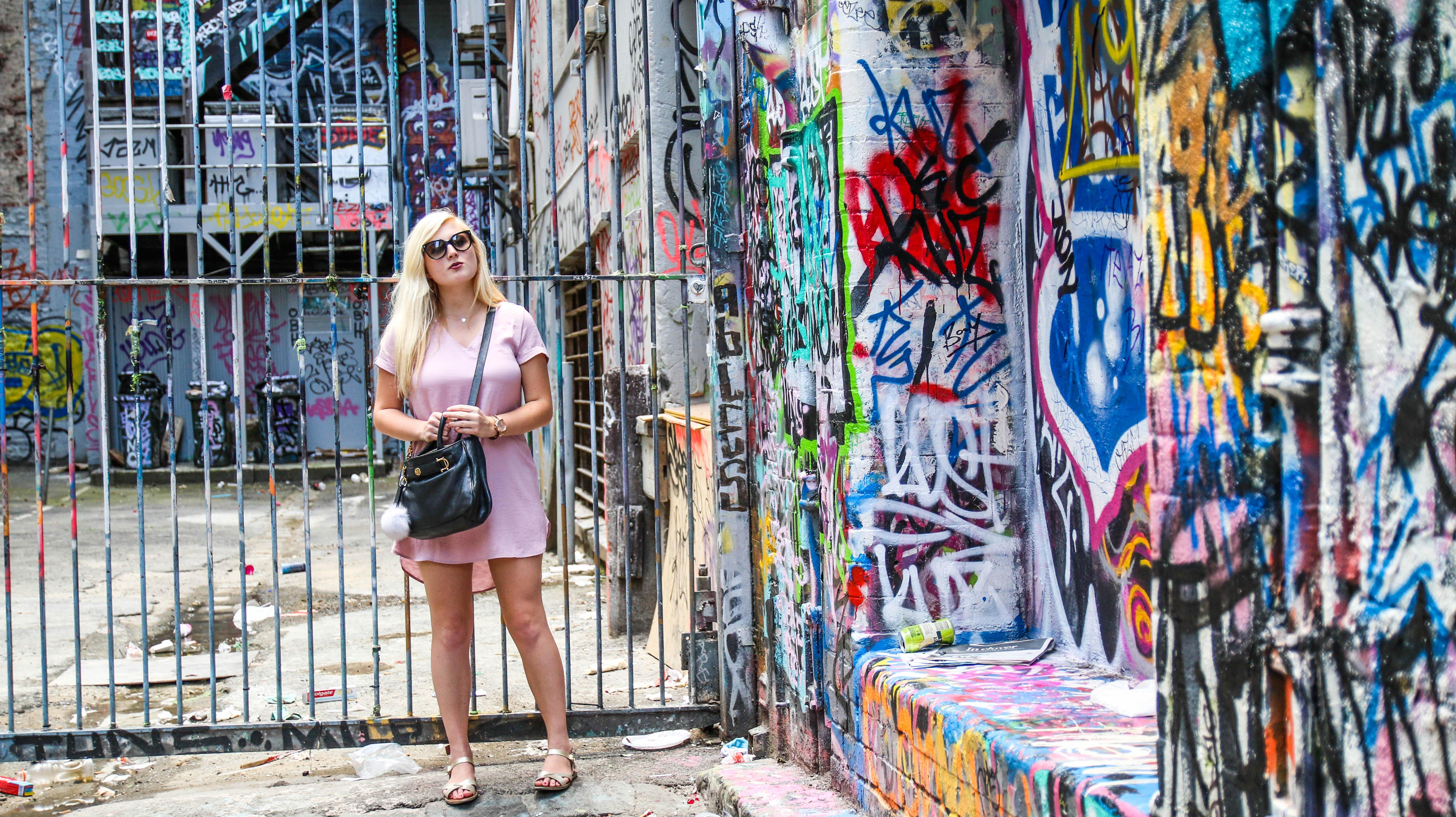 Brianna de Gaston in Hosier Lane Graffiti - JamesWatling KiwiPassport.com