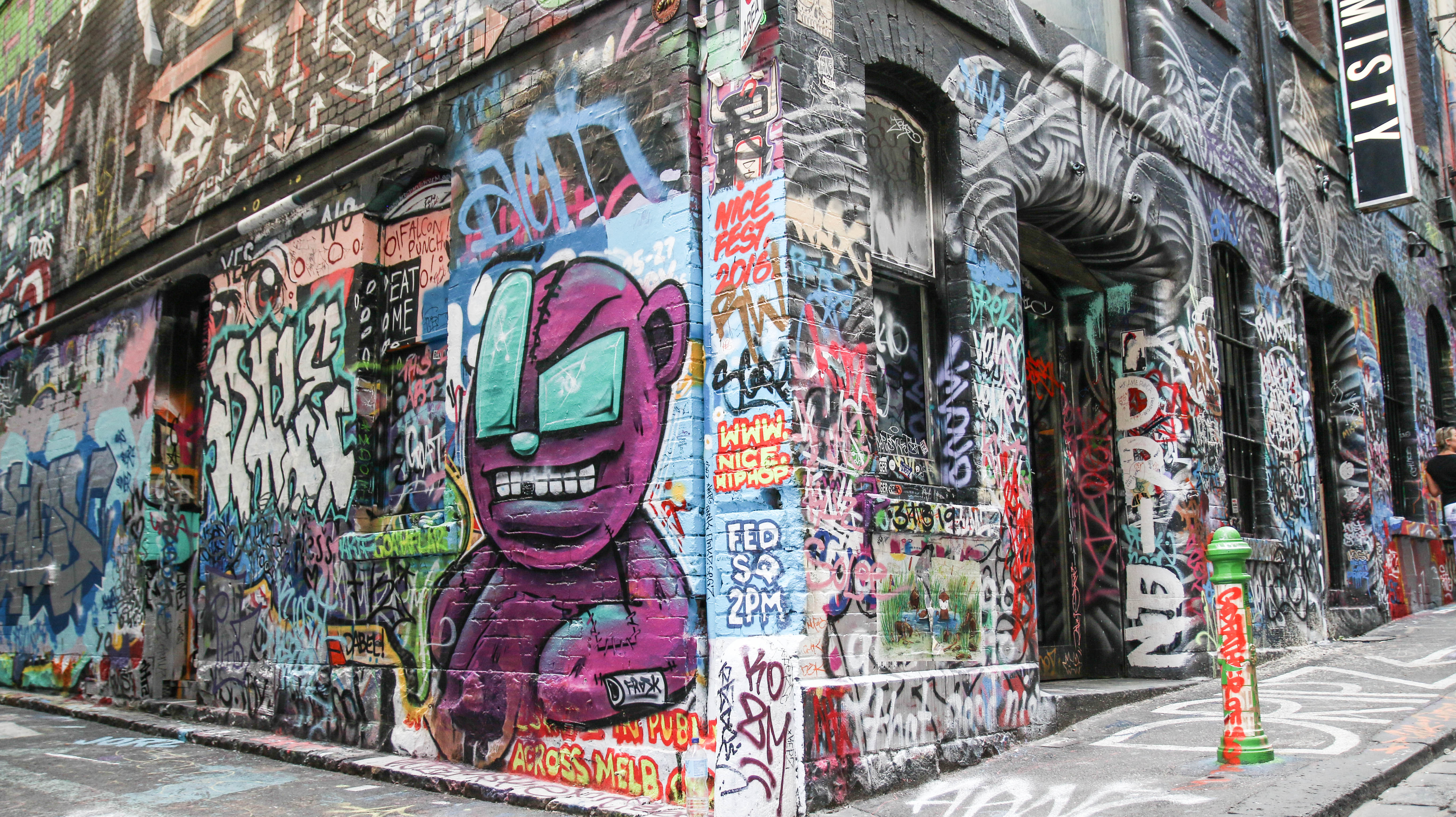 Hosier Lane Graffiti and bordered up walls - JamesWatling KiwiPassport.com