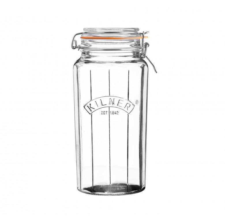 Facetted Clip Top Jar 1.8L