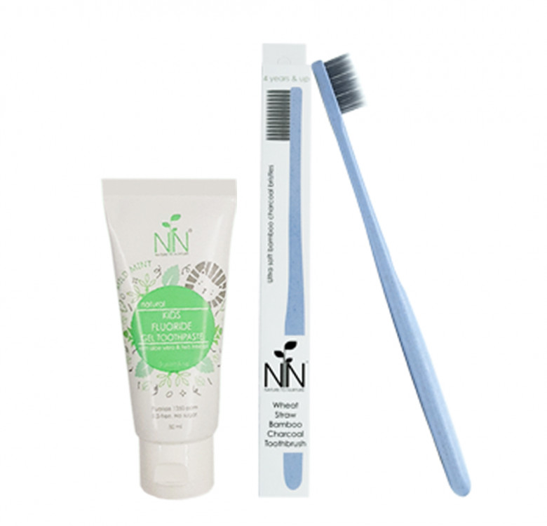 Charcoal Bamboo Toothbrush & Toothpaste (4 years and up)
