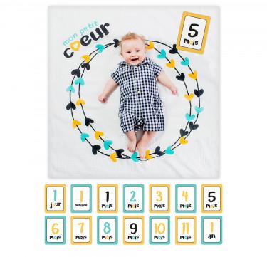 Mon Petit Coeur Milestone Blanket & Card Set