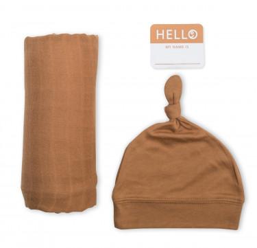 Tan Baby Bamboo Bonnet & Swaddle Set (Hello World)