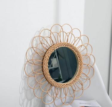 Round Petal Rattan Mirror