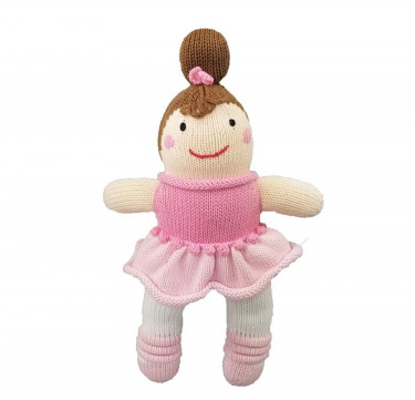 Bella The Ballerina Hand-Knit Rattle & Cotton Doll