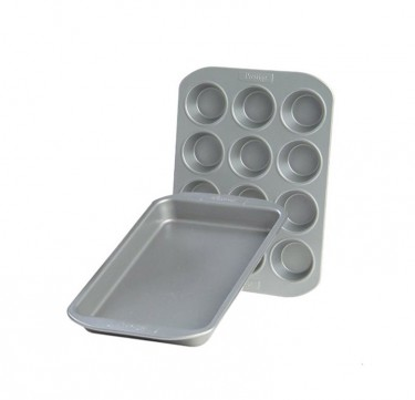 Twin Pack: 12 Cup Muffin Pan & Oven Tray