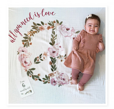 All You Need is Love Milestone Blanket & Card Set