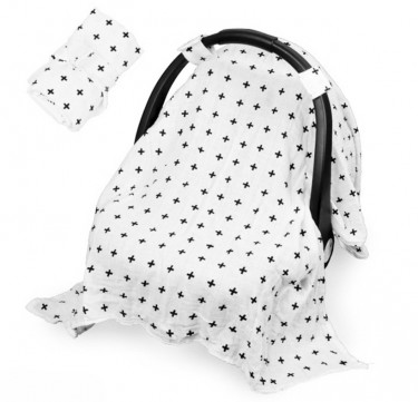 Deluxe Muslin Car Seat Cover (Nordic Cross)