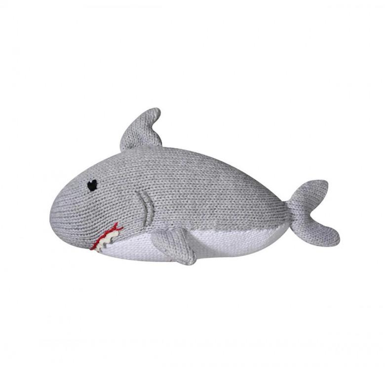 Sebastian the Shark Hand-Knit Rattle & Cotton Doll