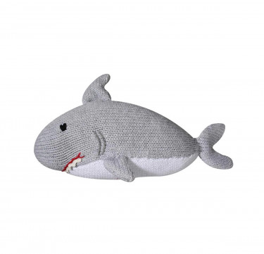 Sebastian the Shark Hand-Knit Rattle & Cotton Doll