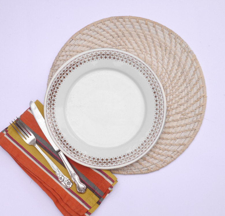 Set of 4 Round Rattan Placemats