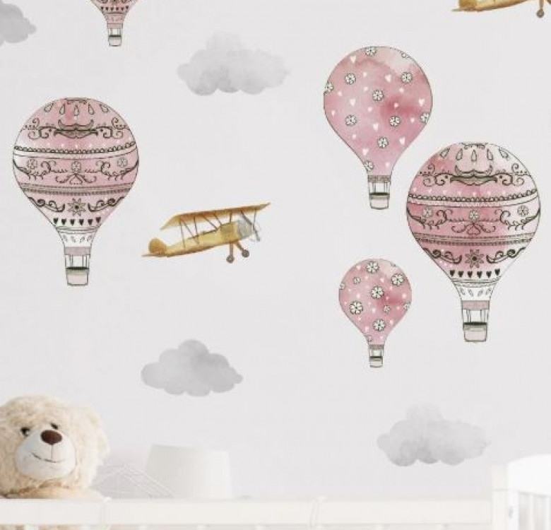 Urban Walls Rosy Hot Air Ballon