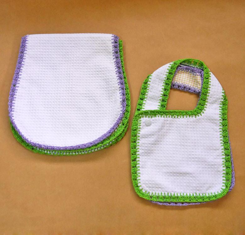 2 Reversible Bibs & Burp Pads Set
