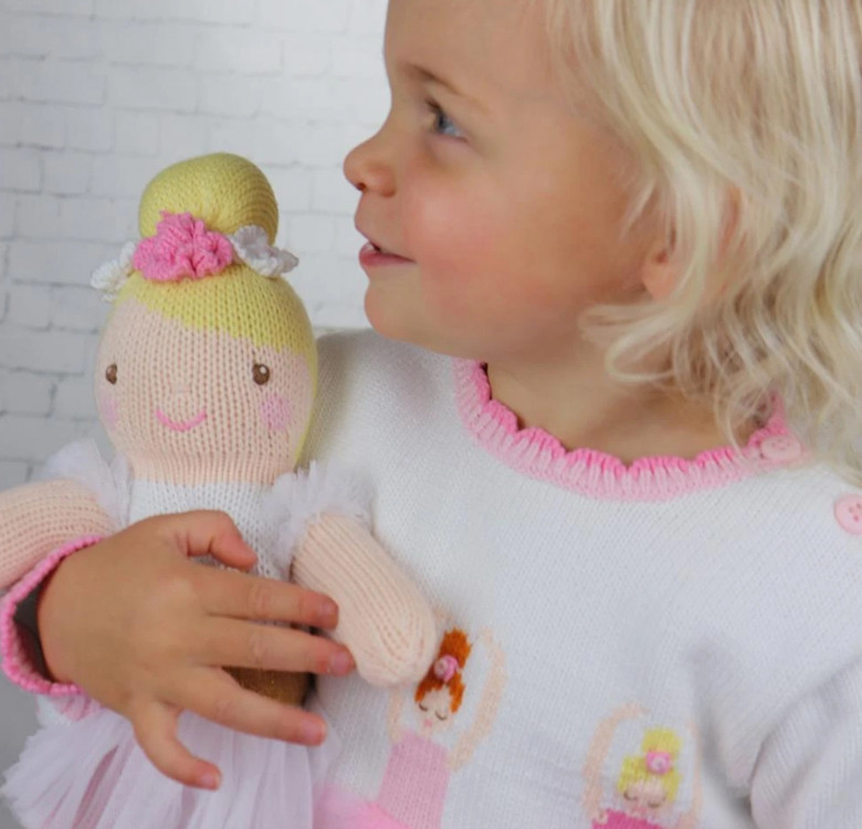 Blakely the Ballerina Hand-knit Cotton Doll