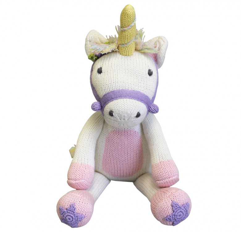 Twinkle the Unicorn Hand-knit Cotton Doll