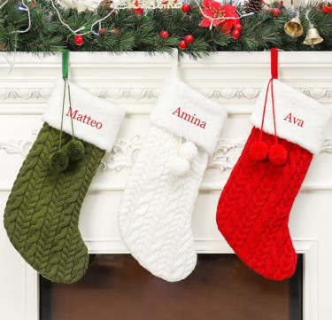 Personalized Knitted Stocking with Ivory Cuff