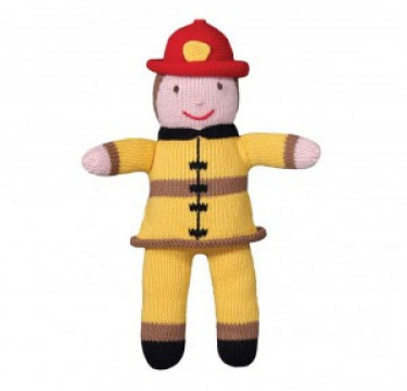 Frank the Fireman Hand-knit Cotton Doll