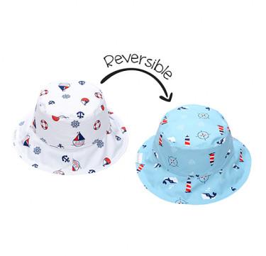 UPF50 Baby/Toddler Reversible Bucket Sunhats - Nautical Ocean Explorer