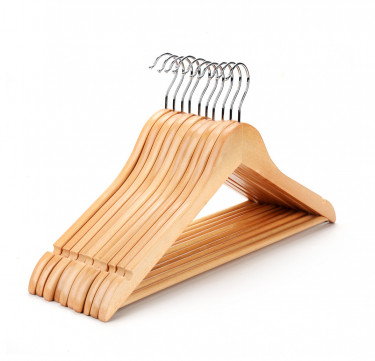1.2cm Wooden Clothes Hanger Pack of 10