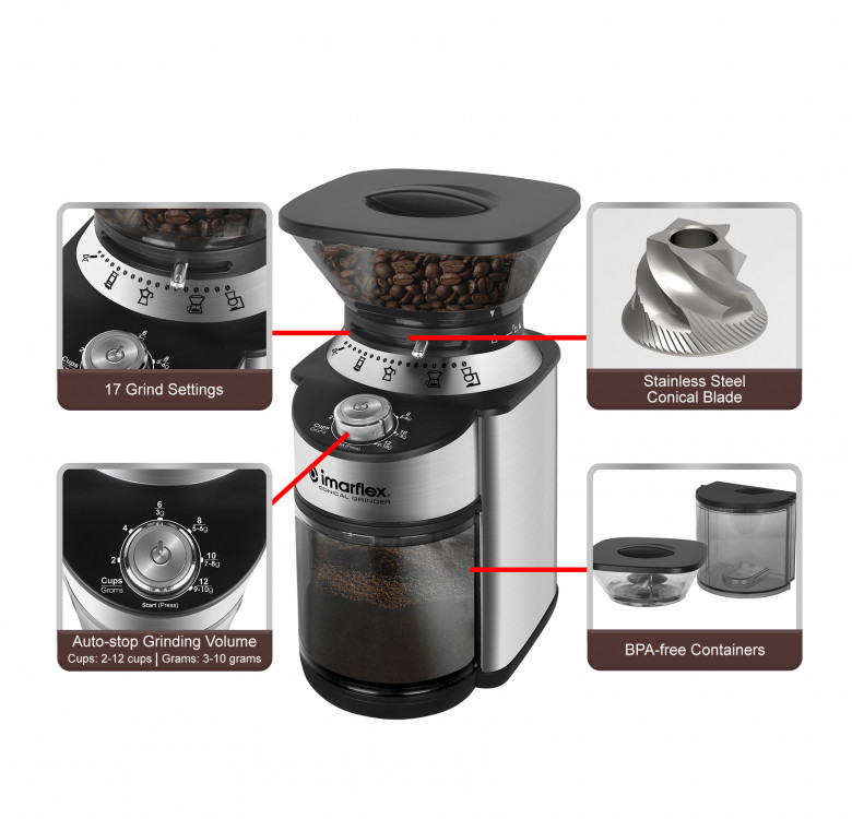 IBG-159C Conical Burr Coffee Grinder