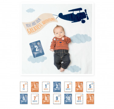 Greatest Adventure Milestone Blanket & Card Set