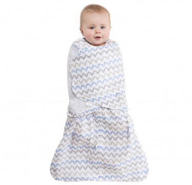 Swaddle Muslin Blue/Gray Chevron