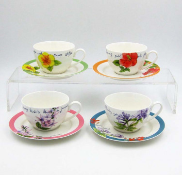 When Flower Blooms - 8 piece Tea Cup & Saucer Set