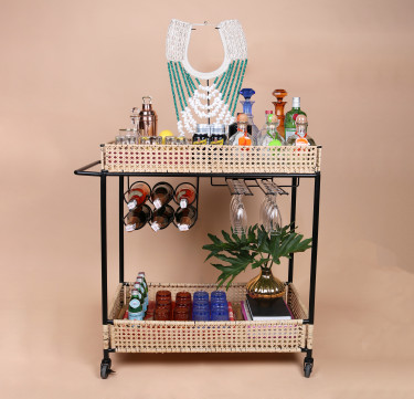 Soleil Bar Cart with Wine Rack