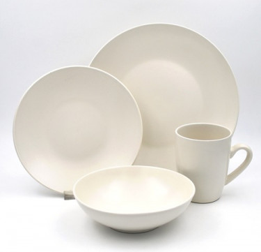16-Piece Mono White Dinnerware Set
