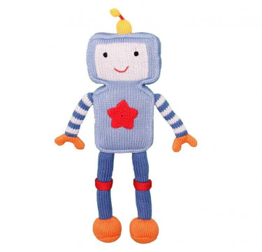 Riley the Robot Hand-knit Cotton Doll