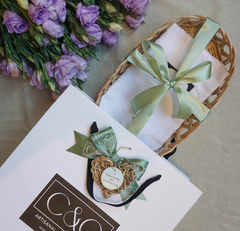 French Basket with Personalized Tea Towel