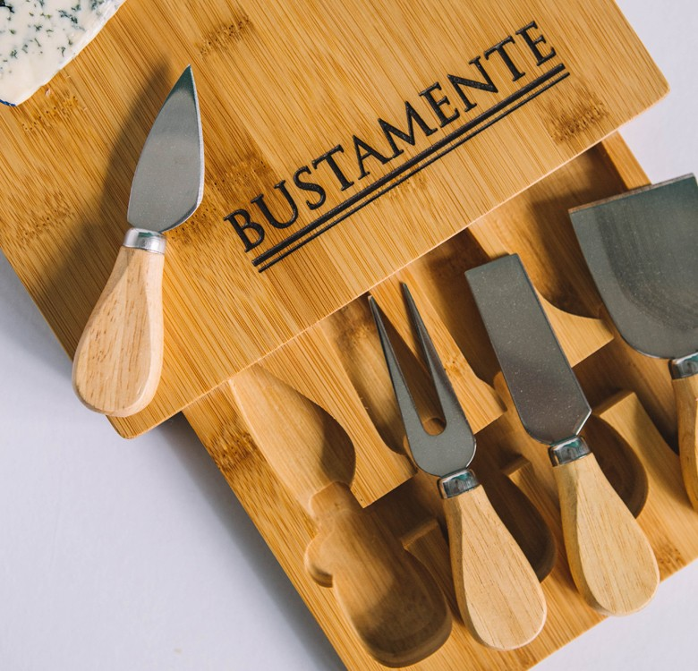 Personalized Bamboo Cheese Board with Cutlery