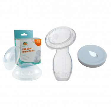 Milk Saver Pump, Spill-Proof Cover and Breast Shells Bundle
