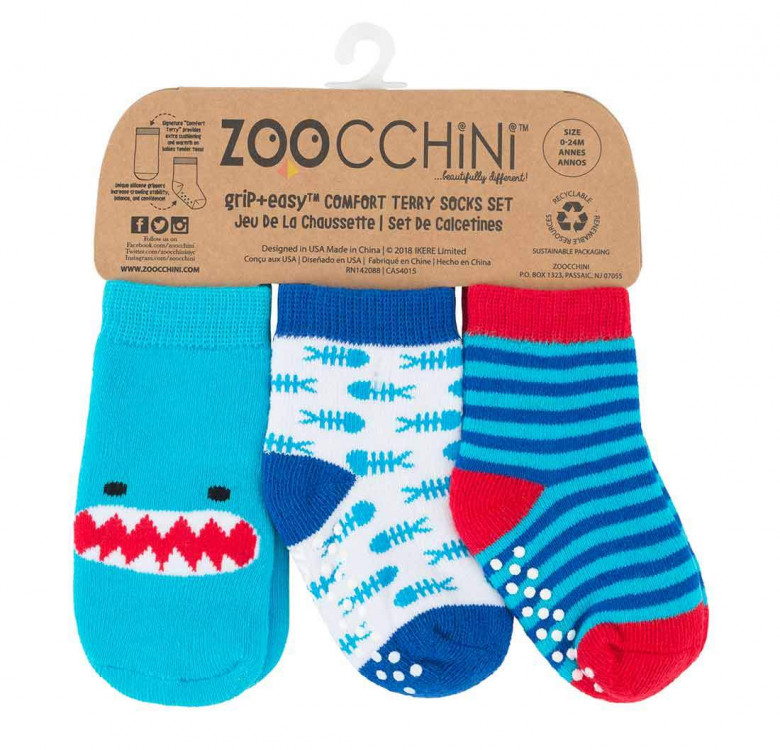 Sherman the Shark Baby Comfort Grip Socks (Set of 3)