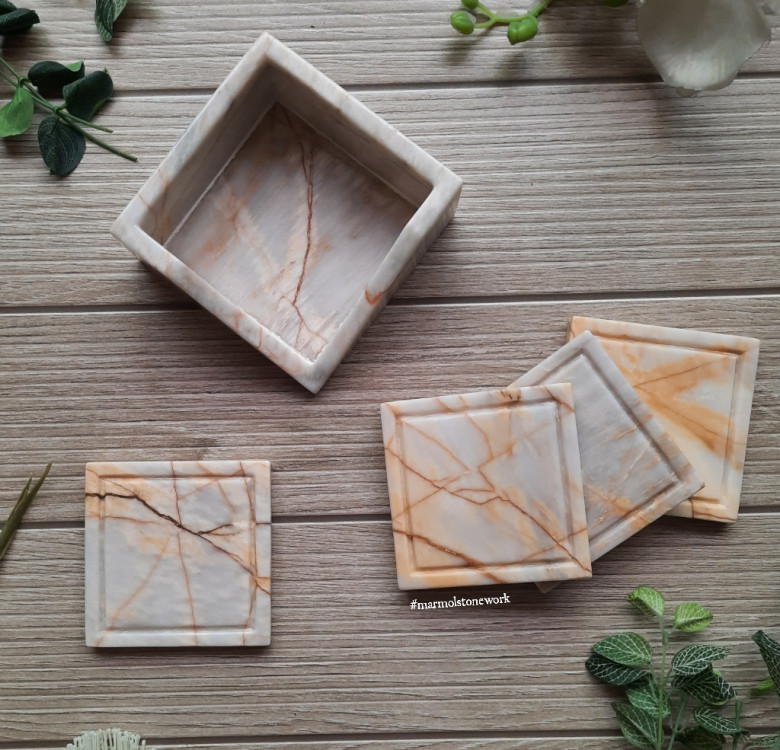 4-Piece Square Marble Coasters with V-Holder